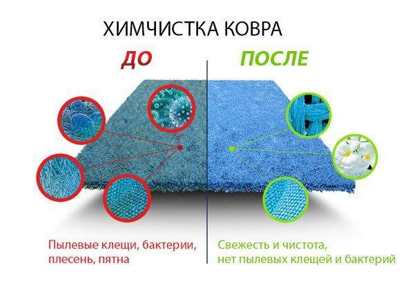 Этапы очистки ковров